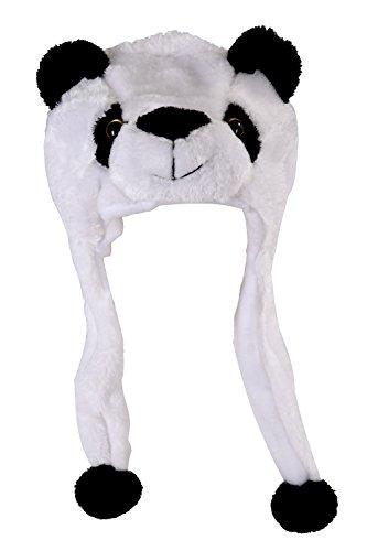 SODIAL (R) Winter Schwarz-weiss Panda Pluesch Tierhut - Braun Schwarz Weiß Winter