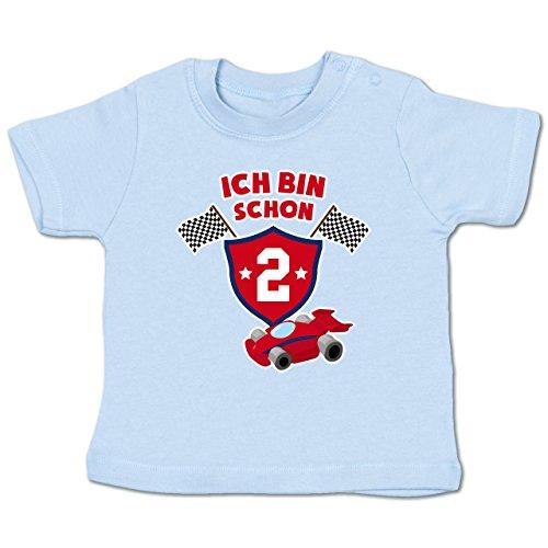 Geburtstag Baby - Ich Bin Schon 2 Rennauto - 18-24 Monate - Babyblau - BZ02 - Babyshirt Kurzarm (Viele T-shirts 2)