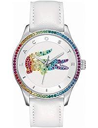 Lacoste 2000822 - Reloj análogico de cuarzo con correa de cuero para mujer, color blanco