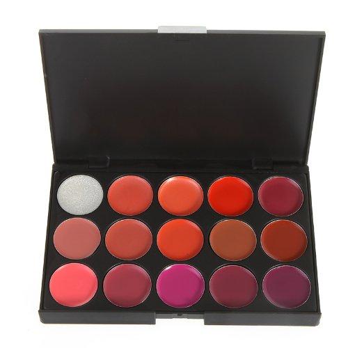 Anself 15 Couleur brillant à Lèvres Rouge à lèvres Gloss Palette de Maquillage set cosmétique