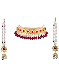 Gold Plated Hyderabadi Jadawi Choker Necklace For Women
