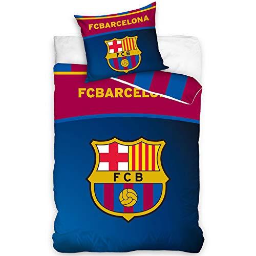 Producto 100% oficial del FC Barcelona. Reversible: 2 grandes diseños en 1. Contiene 1 funda de edredón y 1 funda de almohada, fundas sin relleno, los insertos se venden por separado. Tamaño de la funda de edredón: 140 x 200 cm. Tamaño...