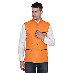 Routeen Orange Embosed Slim Partywear Ethnic Jacket for Men