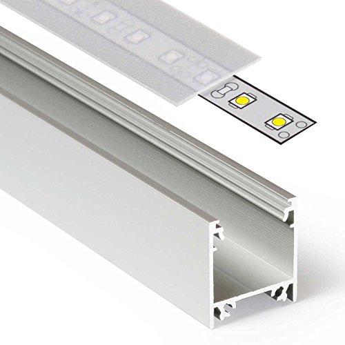 2m Aluprofil LINEA (LI) 2 Meter Aluminium Profil-Leiste eloxiert für LED Streifen - Set inkl Abdeckung-Schiene satiniert-frosted diffuse halbtransparent mit Montage-Klammern und Endkappen (2 Meter satiniert slide) - Frosted Bad Set