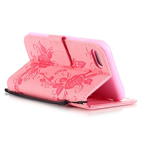 KM-WEN® Schutzhülle für Apple iPhone 7 (4,7 Zoll) Bookstyle Campanula Muster Prägung Ledertasche mit Strap Magnetverschluss PU Leder Wallet Case Flip Cover Hülle Tasche Schutzhülle mit Standfunktion K Pink-2