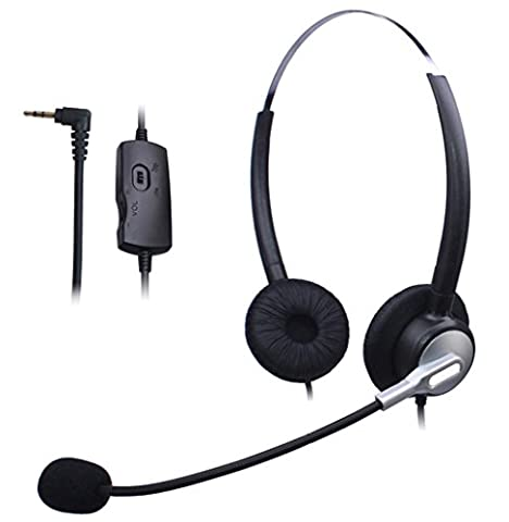 Wantek Dual Ear Call Center Telephone Headset with 2.5mm Headphone Jack + Mic + Volume Mute Controls for Cisco Linksys SPA SPA921 SPA922 SPA941 303 501G 502G 504G 508G 509G 525G Phones (H120S01J25)