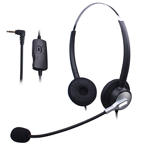Wantek Call Center Telefon Headset Dual mit 2,5mm Kopfhörer Klinke + Mikrofon + Volume Mute Controls für Cisco Linksys SPA SPA921 SPA922 SPA941 303 501G 502G 504G 508G 509G IP Telefone(120S01J25) Volume Control Mute