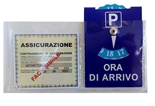 Ducomi Porta Assicurazione con Disco Orario per Auto con Adesivo per Parabrezza Anteriore e Cruscotto in Plastica Trasparente (Disco orario + Porta Assicurazione)
