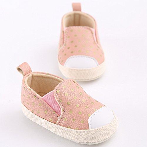 La Vogue Chaussure Slip-On Bébé Mixte Baskets Manche Premier Pas Sneakers Basses Tollder Étoiles Rose