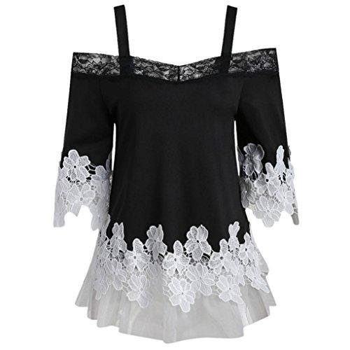 iHENGH T-Shirt Damen Sommer Mode Open Schulter Blumen Applique Spitze Mesh Camisole Tops Bluse