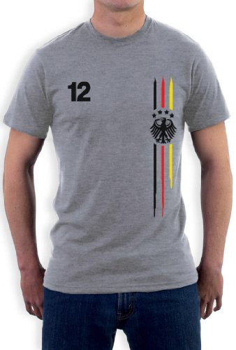 Deutschland Fußball Trikot mit Nummer 12 Nationalmannschaft Fan T-Shirt Grau