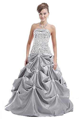 Vantexi Damen Trägerlosen Satin Stickerei Hochzeitskleider Formal Ballkleid Silber