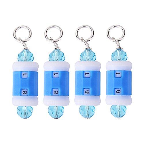 Reihenzähler und Maschenmarkierer für Strick- und Häkelarbeiten,  2-in-1 Maschenmarkierer und Reihenzähler, blau, 9 mm -