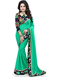 Zypara Women's Georgette Saree With Blouse Piece (Green_Print_Green)