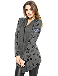 Chili Bang Bang   Hochwertiger Damen Cardigan in dunkelgrau Print und Einem  Patch am Ärmel 4e07f2f0a4