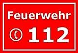 Schild Feuerwehr 112 Notruf Telefon – 15x20cm, 30x20cm und 45x30cm – Bohrlöcher Aufkleber Hartschaum Aluverbund -S00122D