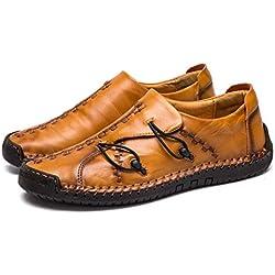 Hombre Cuero Mocasines Casuales Ligeros Conducción Barco Mocasines Zapatos Británicos Caballeros Comercio Trabajo Zapatillas