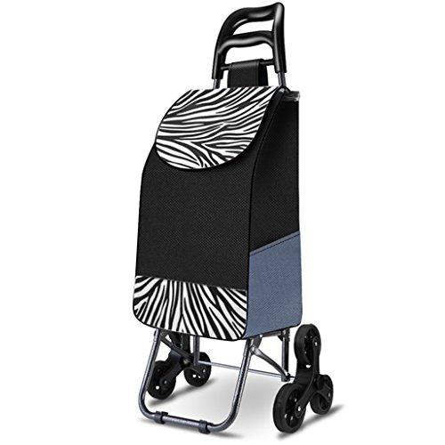 Einkaufstrolleys Leichter Treppensteigklappbarer Faltbarer Einkaufswagen Gepäck 6 PU-Rad Ergonomischer Griff Zusammenklappbarer Push, Pull Carts Oxford Tuch Große Kapazität 30L