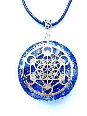 collier Orgone Pendentif en orgonite Cubat de Métatron, Lapis-lazuli, Nouvel Age, Reiki