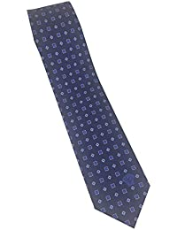 Versace Men's Dark Blue Geometric Print 100% Silk Skinny Neck Tie