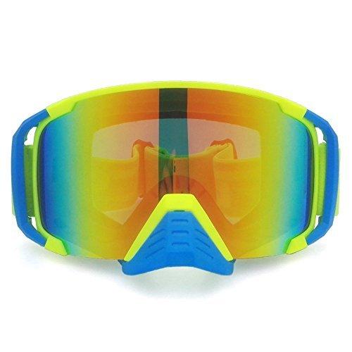 heinmo Motocross Goggle Staubdicht Winddicht Brille Motorrad Helm Brille Radfahren Brille Nase Schutz (gelb + blau)
