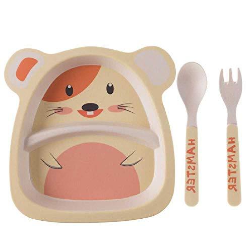 pyc88 Kinder Bambus Faser Geschirr Gesunde BabySchale Gabel Löffel Süße Cartoon Geschirr Set Gerichte Hamster de riz de Dessin animé -