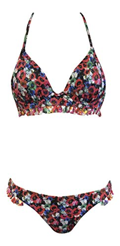 Topshop Damen Bikini-Set Mehrfarbig Mehrfarbig OneSize Gr. Small, Red Poppy