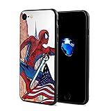 DailiH Étui pour iPhone 7 pour iPhone 8 - Spiderman et Drapeau américain - Coque de Protection Dorsale arrière Ultra-Flexible et Flexible pour iPhone 7 / iPhone 8