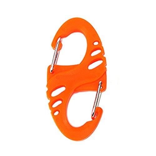 Befaith 4pcs Plastikstahl S Form Rucksack Verschlüsse Karabiner EDC Keychain Camping Flaschenhaken Orange
