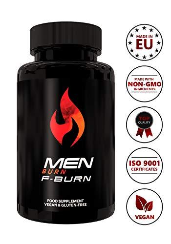 Men burn f-burn | 100% brucia grassi naturale| perdita di peso senza stimolante | maca & tribulus power | potenza & stamina per l'uomo | pillole per dieta keto a forte dosaggio | 60 capsule vegetali