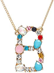 Large Initial Necklace Colorful Rhinestones Gemstone Crystal Gold Plated Necklace for Women, 26 Alphabet Monog