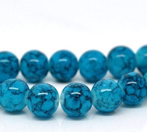 Charm Buddy 50 x Blue Mottle Effect Glass Round Beads10mm (1)