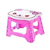 Jiansheng Folding Step Stool, Folding Step Thickened Plastic Mini Folding Stool Portable, Pink, (21.5 * 16 * 18cm) (Color : Pink B)