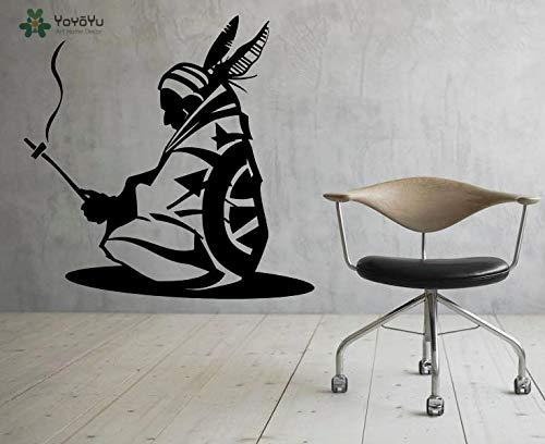 fancjj Indische Wandtattoo Native American Design Vinyl Wandaufkleber Moderne Abnehmbare Dekoration Zubehör KunstwandaufkleberSY 43x42 cm - Mulch Gold