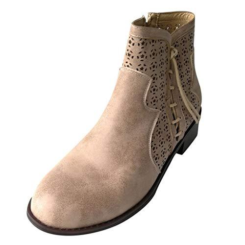 Momoxi Stivali Pioggia Donna, Scarpe Stringate con Tacco Piatto di Grandi Dimensioni per Donna