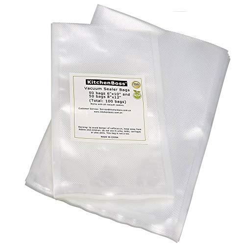 KitchenBoss Profi Folienbeutel 50pcs 15x25cm und 50pcs 20x30cm für Vakuumiergerät, BPA-frei FDA-Approved Vakuumbeutel, stark & reißfest & wiederwendbar & kochfest Vakuumierbeutel für Sous Vide,