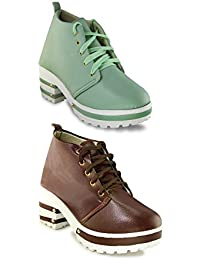 TEQTO Women's Brown And Green Pack Of 2 Ankle Boots {Combo-12}