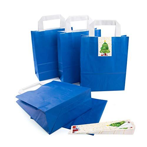 25 kleine ROYAL-blaue Papier-Tüte Geschenk-Tasche mit Henkel Boden 18 x 8 x 22 cm + 25 Aufkleber CHRIST-BAUM rot beige grün Geschenkverpackung Weihnachten bio Kraftpapier Be-Füllen Tütchen