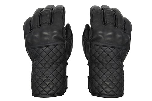 THROTTLESNAKE Elegantes Guantes de Cuero Negro para Moto MAMBA NEGRA † Black Stylish Motorcycle Leather Gloves for Dappered Gentleman (XXL)