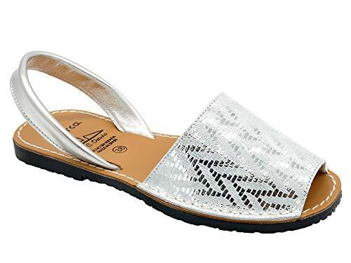 Avarca - Made In Spain - Damen Echt-Leder Sandalen mit metallik Fischgrat-Muster - schöne, Bequeme und offene Menorca Avarcas Sommer Urlaub-Schuhe für Mädchen und Frau - 391 Silber Gr. 38