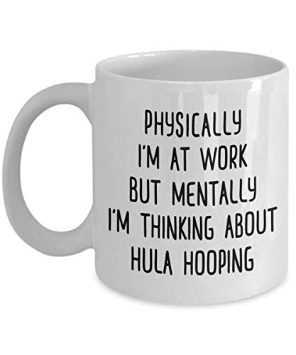 Think About Hula Hooping Coffee Mug Hooper Travel Friend Gift Hobby Tea Cup Present (Hula-mädchen-affe)