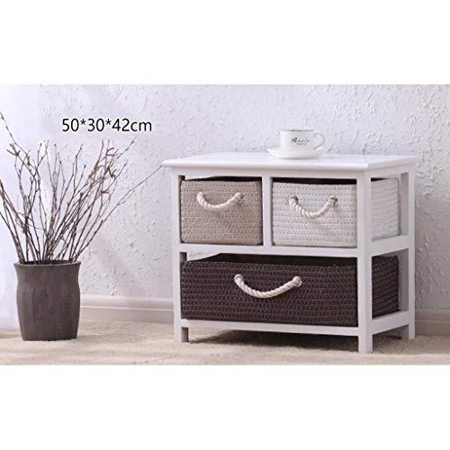 NA Wohnmöbel Nachttisch Massivholz Rattan Aufbewahrungsbox Schublade Schlafzimmer Schließfächer