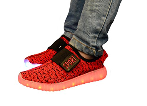 Genda 2Archer Enfants garçons filles 7 couleurs respirant LED Light Up chaussures USB Charging mode Sneakers Rouge
