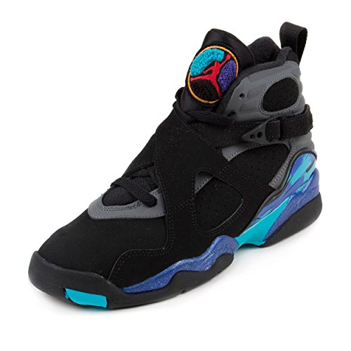 Nike Jungen Air Jordan 8 Retro BG Turnschuhe, Schwarz/Blau/Grau (Blck/Gry Tr RD-Flnt-Brght Azng), 39 - Jordan 8 Air Kinder