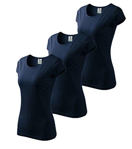 Dress-O-Mat Damen 3er Pack T-Shirt Shirt rundhals klassisch Tailliert Gr S marine blau (Top Marine-blau-t-shirt)