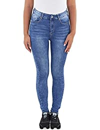 SOTALA Damen High Waist Hochbund Skinny Röhren Slim Fit Stretch Jeans Hose Denim