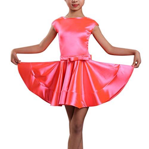 Daytwork Childrens Dance Dress Latin - Kinder Kleid Ballsaal Salsa Tanzwettbewerb Tango Outfits Kostüme Bequem Mädchen Rumba Samba Skirts (Latin Dance Kostüm Kleider)