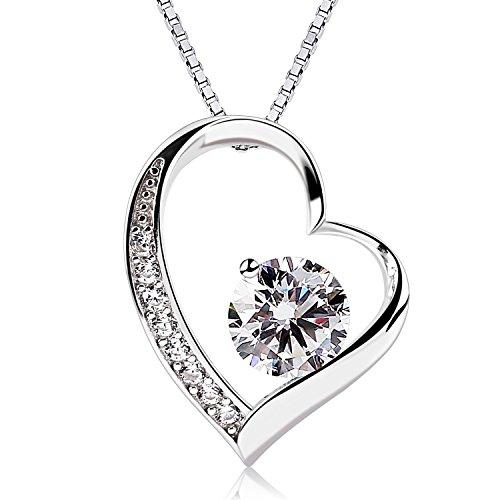"""B.Catcher Collar Mujer 925 Plata de Ley corazón """"Para siempre te amaré"""" con Para Valentín Originales Cadena 45cm Longitud"""