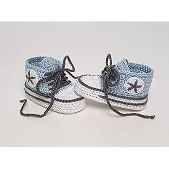 Babyschuhe gehäkelt-Sneakers-babyblau/dunkelanthrazit-Turnschuhe-Sportschuhe-Krabbelschuhe