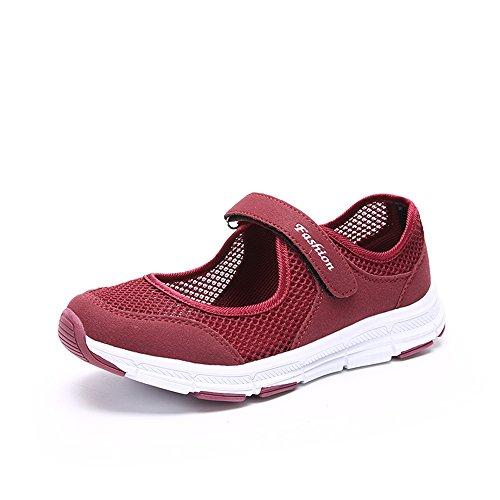 Damen Outdoor Fitnessschuhe Atmungsaktive Mesh Schuhe Sport Slipper mit Klettverschluss, Rot, 39 EU - Jane-schuhe Damen Rot Mary